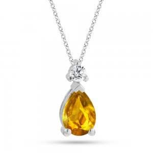 0.05ct. Diamond 14K Solid Gold Classic Citrine Necklace