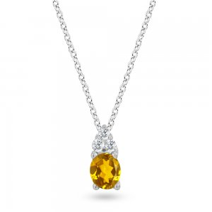 0.04ct. Diamond 14K Solid Gold Classic Citrine Necklace