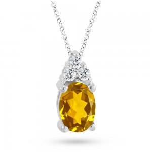 0.06ct. Diamond 14K Solid Gold Classic Citrine Necklace