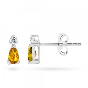 0.08ct. Diamond 14K Solid Gold Classic Citrine Earring