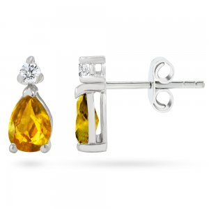 0.12ct. Diamond 14K Solid Gold Classic Citrine Earring