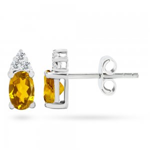 0.1ct. Diamond 14K Solid Gold Classic Citrine Earring