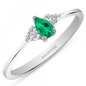 0.08ct. Diamond 0.20ct. Emerald 14K Solid Gold Modern Design Ring
