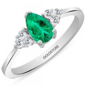 0.12ct. Diamond 0.65ct. Emerald 14K Solid Gold Modern Design Ring