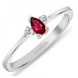 0.08ct. Diamond 0.21ct. Ruby 14K Solid Gold Modern Design Ring