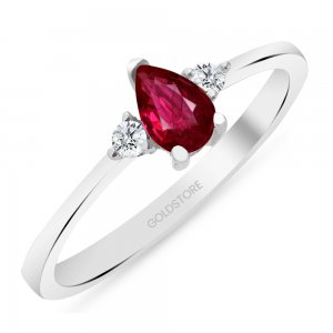 0.1ct. Diamond 0.21ct. Ruby 14K Solid Gold Modern Design Ring
