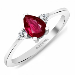 0.12ct. Diamond 0.65ct. Ruby 14K Solid Gold Modern Design Ring