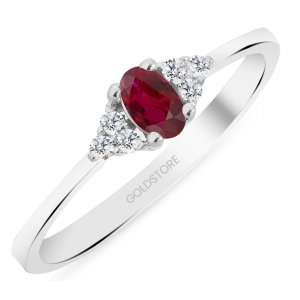 0.08ct. Diamond 0.25ct. Ruby 14K Solid Gold Modern Design Ring