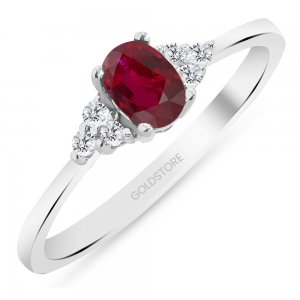 0.1ct. Diamond 0.40ct. Ruby 14K Solid Gold Modern Design Ring