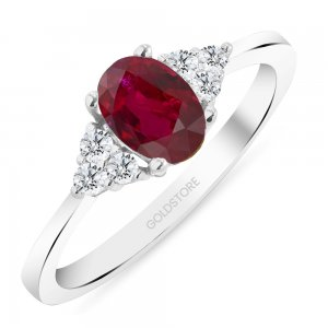 0.12ct. Diamond 0.80ct. Ruby 14K Solid Gold Modern Design Ring