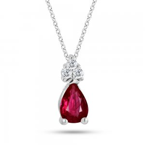 0.05ct. Diamond 0.27ct. Ruby 14K Solid Gold Classic Necklace