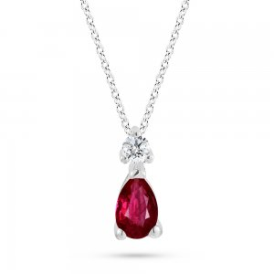 0.04ct. Diamond 0.21ct. Ruby 14K Solid Gold Classic Necklace