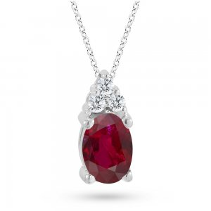 0.06ct. Diamond 0.27ct. Ruby 14K Solid Gold Classic Necklace