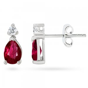 0.12ct. Diamond 0.44ct. Ruby 14K Solid Gold Classic Earring