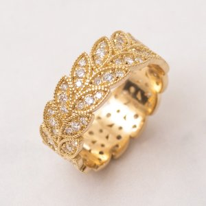 0.75ct. Diamond 18K Solid Gold Eternity Leaf Ring