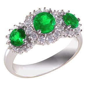 0.45ct. Diamond 0.93ct. Emerald 18K Solid Gold Modern Design Ring