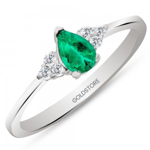 0.1ct. Diamond 0.20ct. Emerald 14K Solid Gold Modern Design Ring