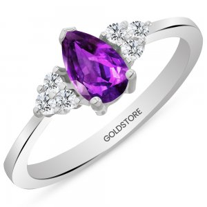 0.12ct. Diamond 14K Solid Gold Modern Design Amethyst Ring
