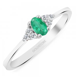0.08ct. Diamond 0.25ct. Emerald 14K Solid Gold Modern Design Ring