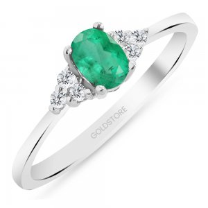 0.1ct. Diamond 0.40ct. Emerald 14K Solid Gold Modern Design Ring