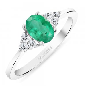 0.12ct. Diamond 0.80ct. Emerald 14K Solid Gold Modern Design Ring