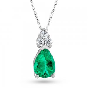 0.06ct. Diamond 0.26ct. Emerald 14K Solid Gold Classic Necklace