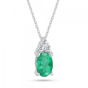 0.05ct. Diamond 0.26ct. Emerald 14K Solid Gold Classic Necklace