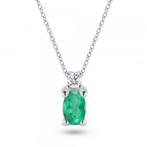 0.04ct. Diamond 0.22ct. Emerald 14K Solid Gold Classic Necklace