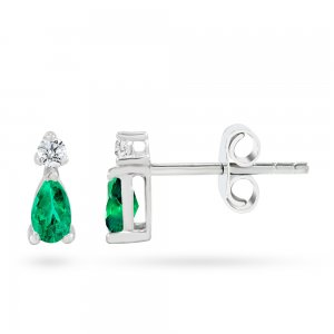 0.08ct. Diamond 0.44ct. Emerald 14K Solid Gold Classic Earring