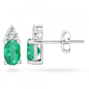 0.12ct. Diamond 0.44ct. Emerald 14K Solid Gold Classic Earring