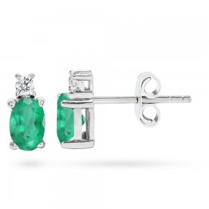 0.1ct. Diamond 0.44ct. Emerald 14K Solid Gold Classic Earring