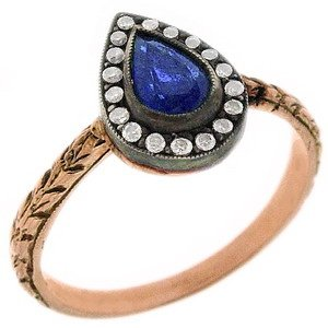 0.11ct. Diamond 0.35ct. Sapphire 8K Solid Gold Modern Design Ring