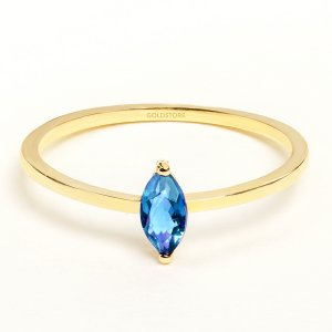 14K Solid Gold Solitaire Blue Topaz Ring