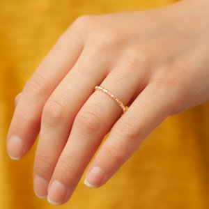 14K Solid Gold Wedding Band Modern Design Ring