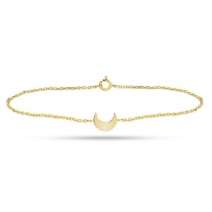 14K Solid Gold Moon Bracelet