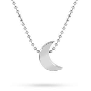 14K Solid Gold Classic Moon Necklace