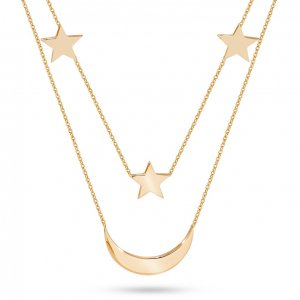 14K Solid Gold Moon & Star Necklace