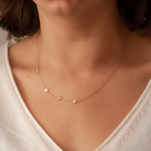 14k 18k Gold Crescent Moon and 3 Stars Gold Necklace