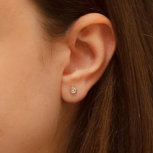 14K Solid Gold Enamel Moon & Star Earring