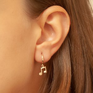 14K Solid Gold Note Earring