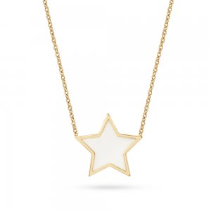 14K Solid Gold Enamel Moon & Star Necklace