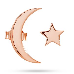 14K Solid Gold Moon & Star Earring