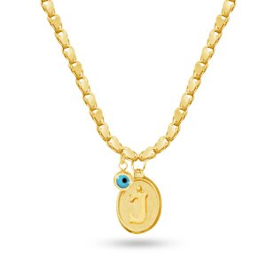 14K Solid Gold Initial Evil Eye Necklace
