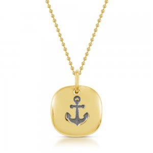 14K Solid Gold Anchor Necklace