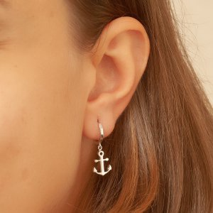 14K Solid Gold Anchor Owl Earring