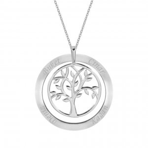 14K Solid Gold Ring Name Life Tree Necklace