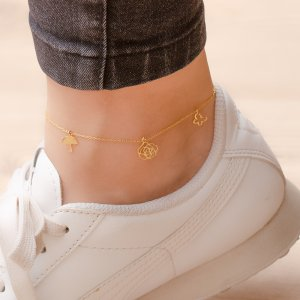 14K Solid Gold Butterfly Flower Rose Anklet