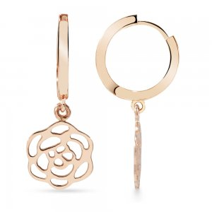 14K Solid Gold Flower Rose Earring