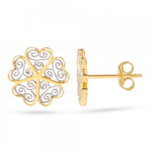 14K Solid Gold Flower Clover Earring