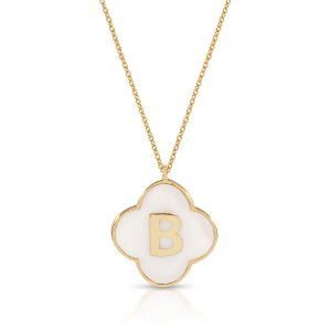 14K Solid Gold Initial Enamel Necklace